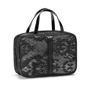 Victoria's Secret Bags - Victoria's Secret Black Lace Cosmetics Zip Bag